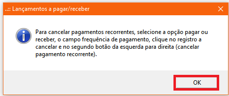 NeXT ERP Cancelar Pagamentos Recorrentes