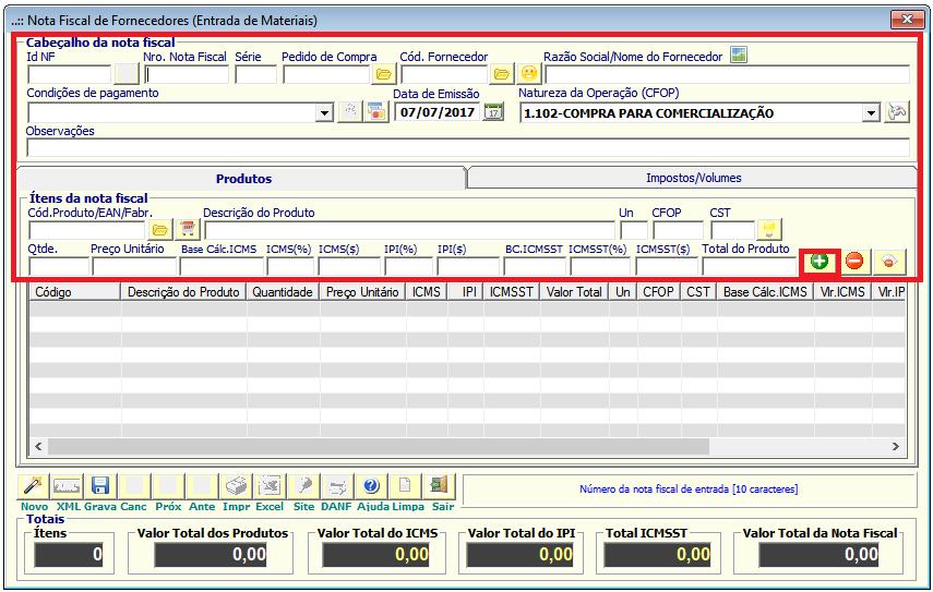 NeXT ERP Entrada Nota Fiscal Fornecedor (Manual)