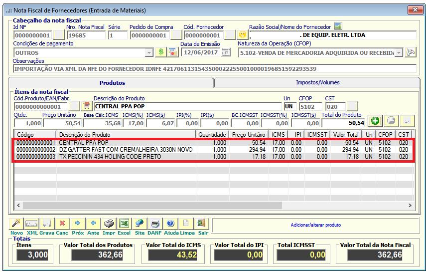 NeXT ERP Entrada Nota Fiscal Fornecedor (XML)