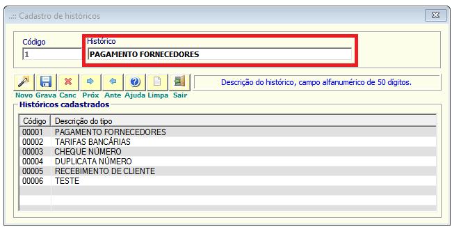 NeXT ERP cadastro Hitóricos_Lançamentos