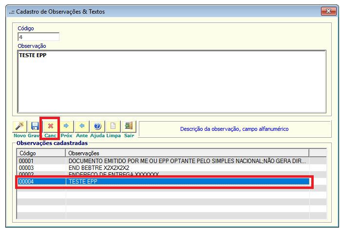 NeXT ERP cadastro Observações_Textos