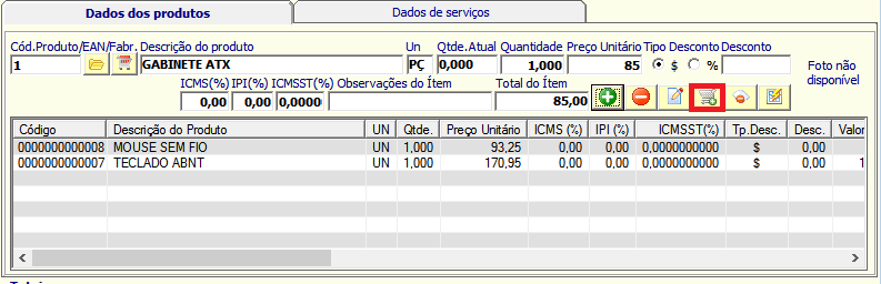 NeXT ERP Pedido Venda