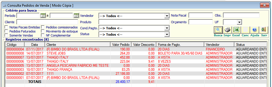 NeXT ERP Pedido de Venda